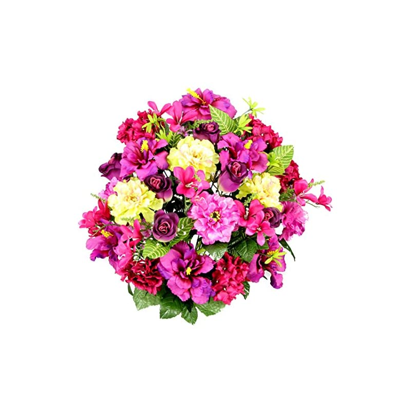 silk flower arrangements admired by nature artificial hibiscus with rosebud, freesias & fillers flower mixed bush for home, office, restaurant & wedding arrangement, lilac mix, 36 stems