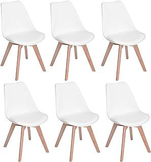 H.J WeDoo Lot de 6 chaises de Salle à Manger scandinaves, Chaises Rétro Bois de hêtre Massif(Blanc)