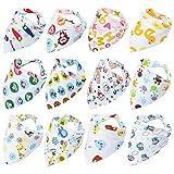 Fontee Baby 12 piezas bebé Bandana Baberos del pañuelo para Niños Suave,...