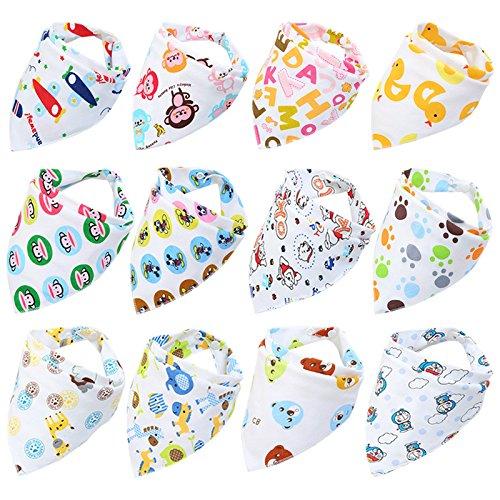 Fontee Baby 12 piezas bebé Bandana Baberos del pañuelo para Niños Suave, cómodo, Lavable a máquina, muy absorbente Bandana baberos para dentición bebés, linda impreso bandana baberos (chicos)