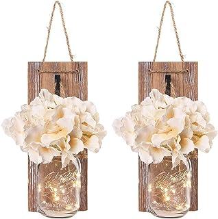 WINOMO Lámpara de pared de cristal con cadena de luces LED, flores artificiales, madera, rústicas, vintage, decoración de pared para salón, casa rural