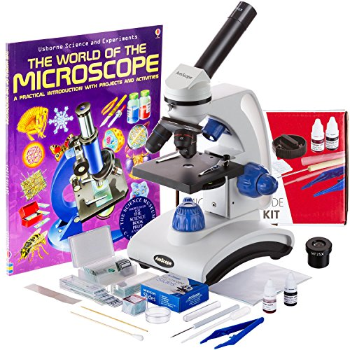 AmScope 40X-1000X Beginners Microscope Kit for Kids & Students w/Complete Science Accessory Kit + World of The Microscope Book