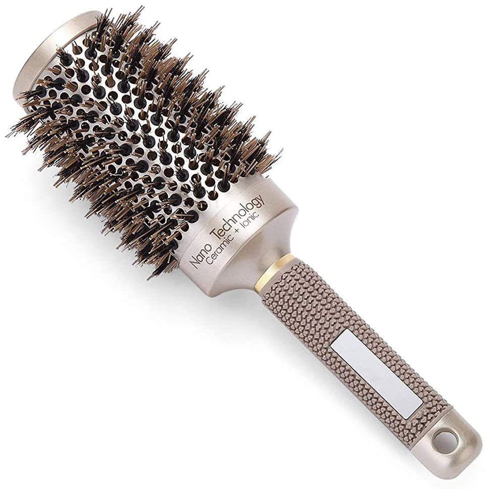 ボーダー洗う期限Cepillo redondo para el cabello Nano Térmico Barril cerámico con cerdas de jabalí natural para secar, peinar, rizar, enderezar, crear brillo, proteger el cabello,#2