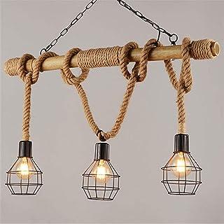 Hierro Arte cáñamo cuerda colgante ligera del arte de bambú de la personalidad La creatividad de la lámpara E27 * 3 Lámpara de techo Iluminación de época industrial ajustable Lámpara colgante