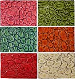 Upon Leather - 6 Genuine Leather Pieces. Embossed and Printed Croc Pattern Cowhide | Scraps 7x 4.8 in. | Sheets pre-Cut from Whole hides | for Crafts, Earrings, Jewelry | Bright Happy Colors
