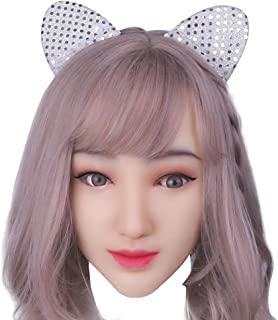 Soft Silicone Realistic Female Head Mask Handmade Face for Crossdresser Transgender Halloween Costumes 1G