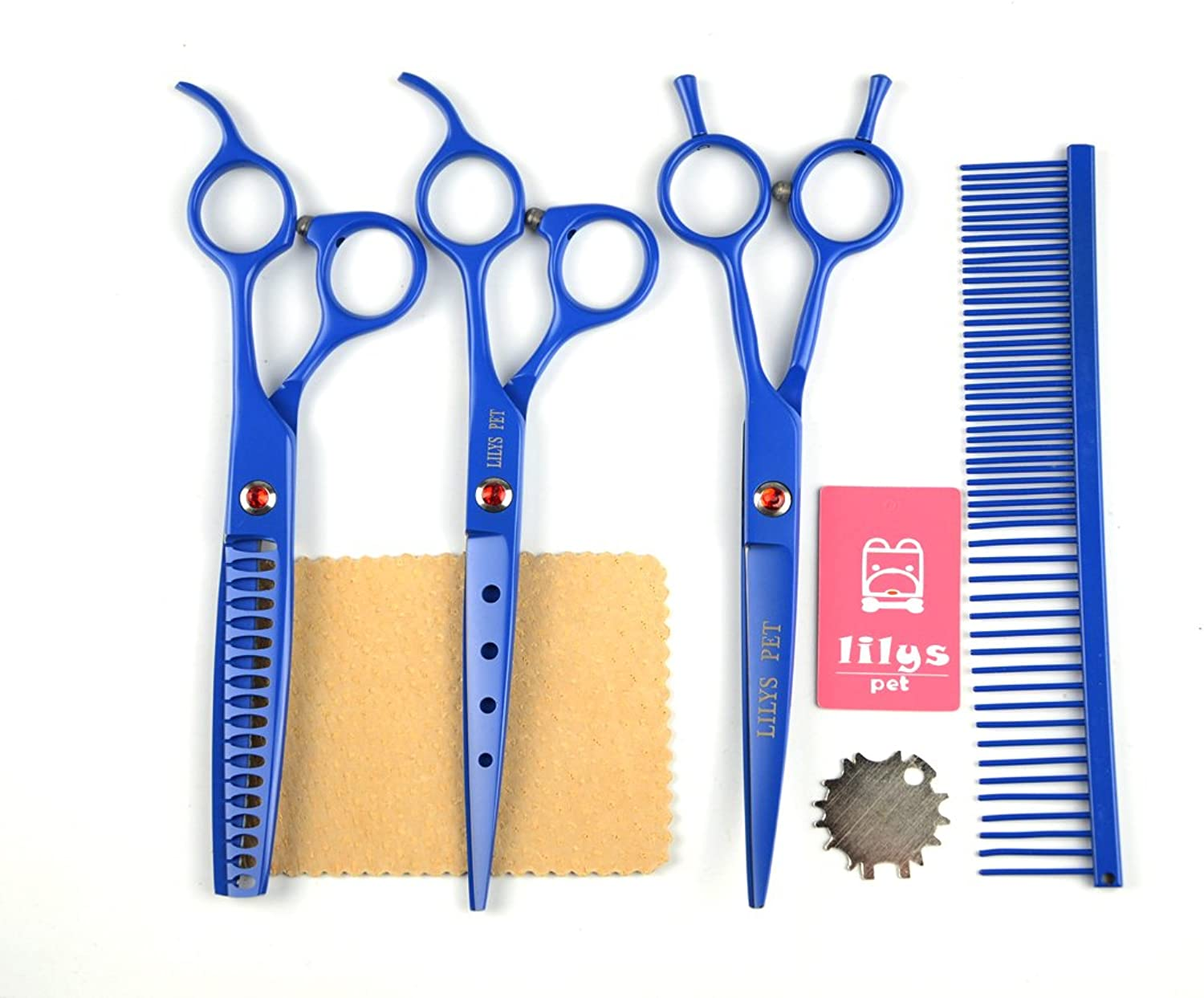 LILYS PET Professional PET Dog Grooming Scissors Cutting&Curved&Thinning Shears,Round Hole Design, Shark Teeth Thinning Scissor (7 , bluee)