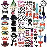 RYMALL 90pcs Nuovo Stile photo booth props Accessori fai da te colorati occhiali baffi labbra farfallino cappelli su bastoni per matrimonio partito Natale compleanno