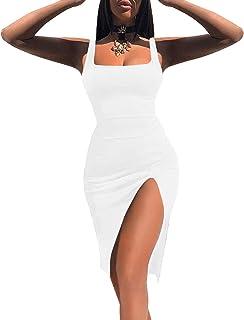Women High Split Tank Dress Sexy Scoop Neck Sleeveless Club Bodycon Dress