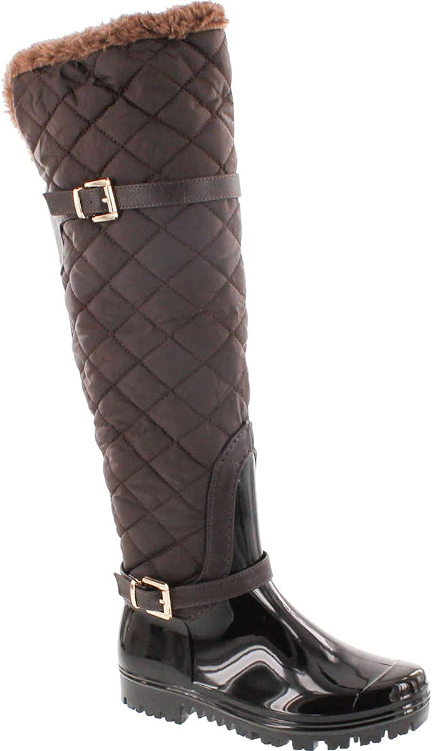 Forever Link Women's Carrie-66 Motorcyle Quilted Buckle Boots,Brown-66,7