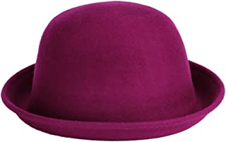 Queenbox Bowler Fedora Panama Derby Hat Women's Roll-up Brim Wool Felt Jazz Cap