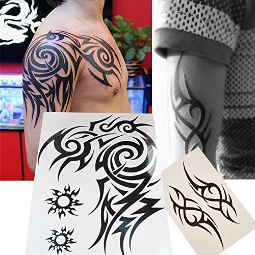 Amazoncom Kotbs 2 Sheets Waterproof Large Temporary Tattoos Men