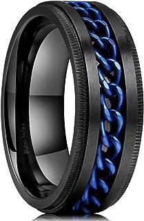 King Will Intertwine Stainless Steel 8mm Rings for Men Center Chain Spinner Ring Black/Blue