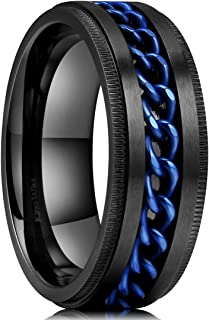 King Will Intertwine Stainless Steel 8mm Rings for Men Center Chain Spinner Ring Black/Blue