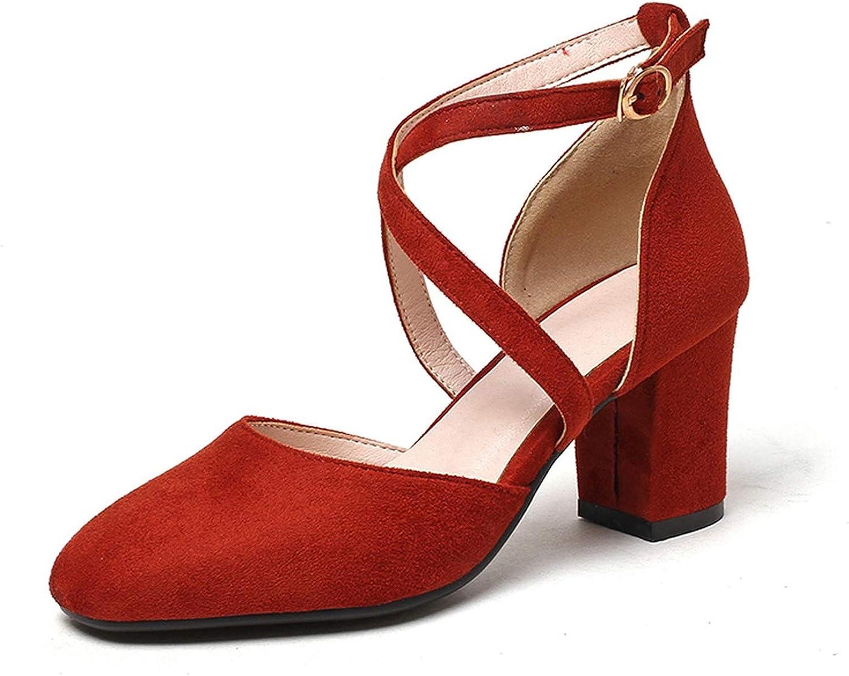 Merry-Heart Women Summer Cross Strap Square Heel Sandals shoes Black Red High Block,