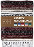 Zulay Home Authentic Mexican Blankets - Hand Woven Yoga Blanket & Outdoor Blanket - Artisanal Boho Blanket & Mexican Falsa Blanket for Beach, Picnic, Camping, or Home Throw Blanket (Blue Cherry Sand)