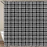 KGSPK Duschvorhang,Schwarzweiss-Hahnentritt-Tartan-Muster-Fliese,Wasserfeste Bad Vorhang aus Polyestergewebe mit 12 Haken Duschvorhang 180x180cm