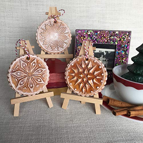 Christmas or Holiday Winter Snowflake Ornament - Hand Painted. Made with flour, water, salt, shellac and ink. Handmade in San Antonio Texas.