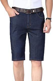 Pantalones Cortos Vaqueros para Hombre Pantalones Cortos Lavados Casuales Rectos elásticos Finos de Verano para piernas có...