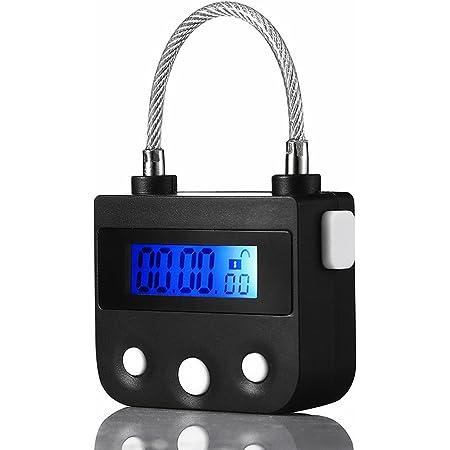タイマー式南京錠 USB充電 安心 防犯グッズ (ブラック)