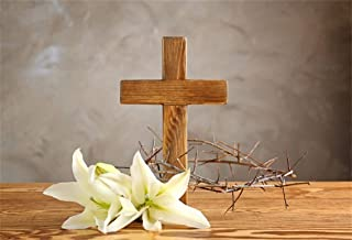 Leyiyi 5x3ft Wooden Cross on Table Photography Background Merry Christmas Jesus Christ Surffer Thorn Branches Lily Flower Cement Wall Backdrop Baptism Happy New Year Photo Portrait Vinyl Studio Prop