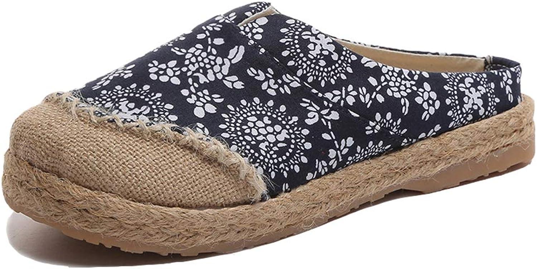 T-JULY Women's Jute Old Beijing Cloth shoes Linen Espadrille Slippers Slip-on Flats Ethnic Style Mule Sandals