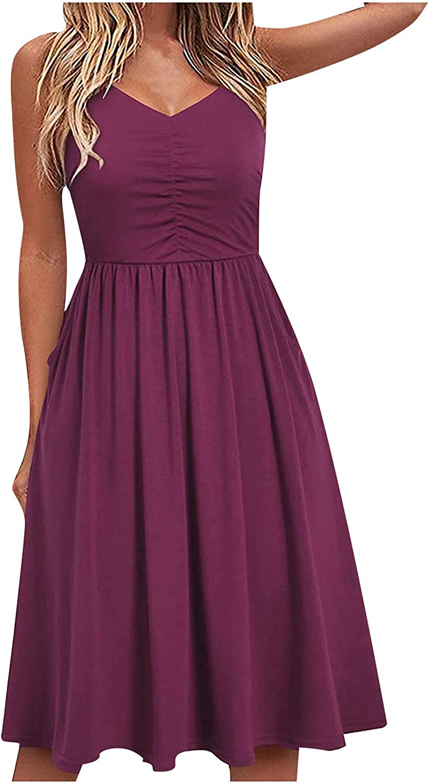 CofeeMO Women's Casual Loose Round Neck Summer Dress Short Pure Color Halter1