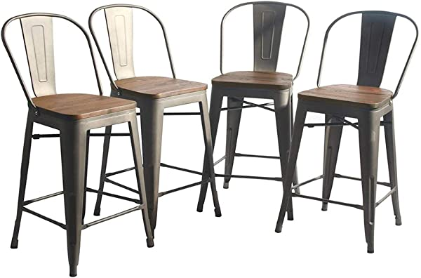 YongQiang 26 Inch Metal Barstools Set Of 4 Indoor Outdoor Bar Stools High Back Dining Chair Counter Stool Cafe Side Chairs With Wooden Seat Rusty