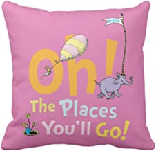 Emvency Throw Pillow Cover Youll Dr Seuss Oh The Places You Ll Go Graduation Decorative Pillow Case Home Decor Square 20 x 20 Inch Pillowcase