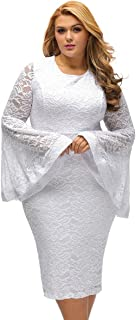 Sexy Plus Size Bell Sleeves Lace Dress Party Dress Plus