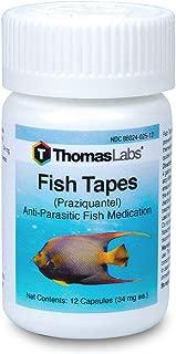 Thomas Labs Fish Tapes - Anti-Parasitic Fish Medication - Praziquantel for Fish - For Tapeworms & Flukes - (34 mg, 12 Capsules)