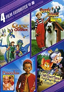 4 Film Favorites: Family Movie Night (The Adventures of Pinocchio / Cats Don't Dance / Dennis the Menace Strikes Again / Quest For Camelot)