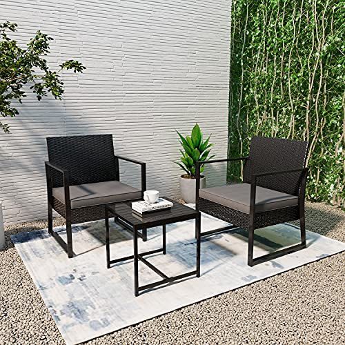 Rattan Garden Furniture 2 Seater, Outdoor Black Coffee Table and 2 chairs with Cushions, 3 Pcs PE Wicker Weave Patio Conversation Set for Backyard, Balcony, Porch, Lawn, Poolside, Bistro, Courtyard