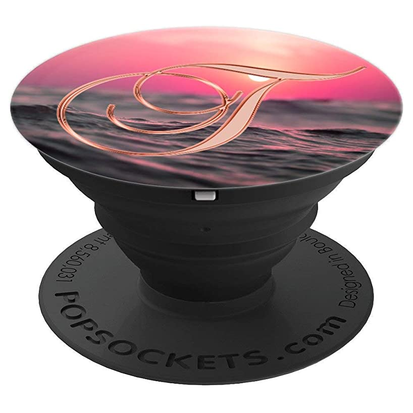 T Pink Sunset Lake Water Sun Summer Monogram Initial Letter - PopSockets Grip and Stand for Phones and Tablets