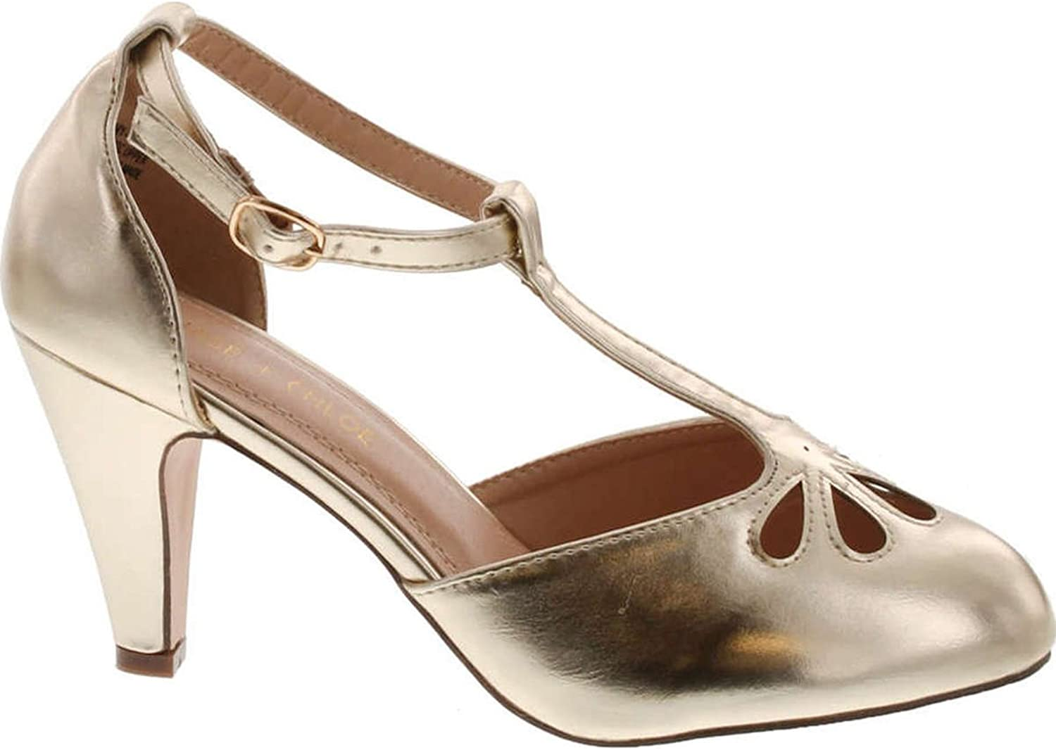 Chase & Chloe New Kimmy-36 Women's Teardrop Cut Out T-Strap Mid Heel Dress Pumps