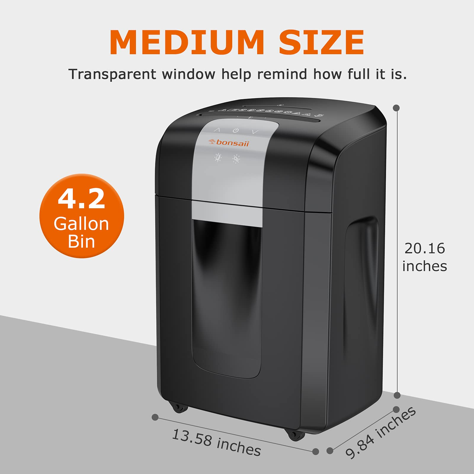 Paper Shredders for Home Office, bonsaii 60-Min Heavy Duty Shredder Ultra Quiet Cross-Cut Paper Shredder with Jam Proof System, Shreds CDs/Credit Cards, 4.2-Gallon Wasterbasket(3S16 Evershred Pro)