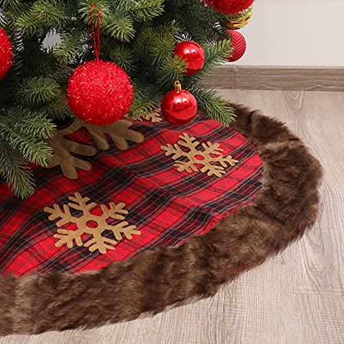 PIAOCHONG Falda Artificial de árbol de Navidad Artificial de 48 Pulgadas, Falda de Navidad de Peluche de Tela Escocesa, Adecuado para Todo Tipo de Decoraciones de Fiesta,Lattice