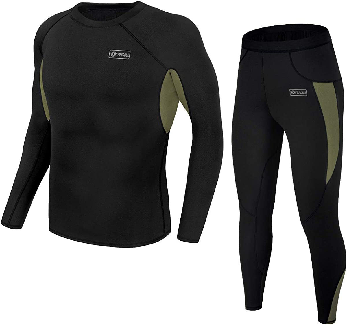 Men's Thermal Underwear Set, Winter Fleece Lined Sport Long Johns Base Layer Quick Drying Thermo for Hunting Skiing