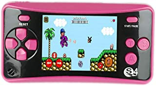 "JJFUN QS-4 Handheld Game Console for Kids,Portable Arcade Entertainment Gaming System Retro FC Video Game Player 2.5"" LCD Built-in 182 Classic Games,Birthday Present for Children(Red)"