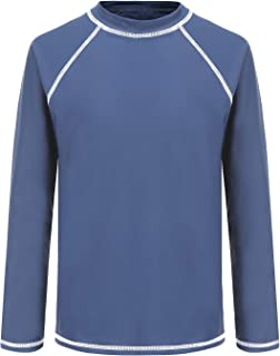 Boys Long Sleeve Rash Guard Shirts Kids UPF 50+/Sun Protection Swim Shirt Beach Sunsuits Swimwear