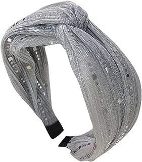 LIM&Shop Cross Headband Sparkly Elastic Head Wrap Hairband Twisted Women Girls Hair Accessories Sequin Beads Hair Hoop
