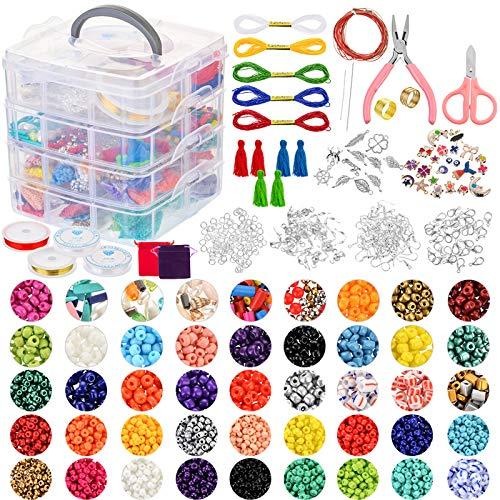 ZJL220 Suministros para hacer joyas, kit de bricolaje con cuentas, abalorios, alicates para joyas, abalorios de alambre para collares, pulseras, pendientes, hacer accesorios de reparación