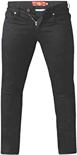 Duke London D555 Mens Big Size Tapered Fit Stretch Jeans in Black (Claude)