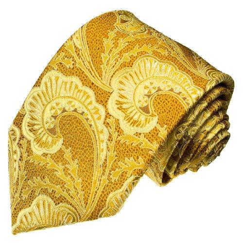 Lorenzo Cana - Designer Krawatte aus 100{c91968b0cf819e3ff89070586b4daa7736c539cf984a7cc5719d53ebb2803527} Seide - Markenqualität Gold Gelb Paisley - 84241