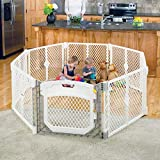 Toddleroo by North States Superyard Ultimate 8 Panel Baby Play Yard: Safe Play Area for Indoors/Outdoors. Folds up with Carrying Strap for Travel. Freestanding. 34.4 sq ft Enclosure (26' Tall, Ivory)