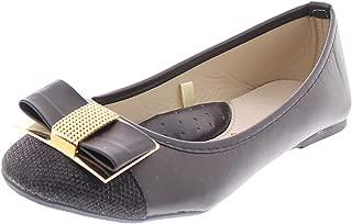 Women's Ursula Shiny Metallic Studded Bow Slip On Ballet Flat Round Toe Dress Flat Pump Shoes
