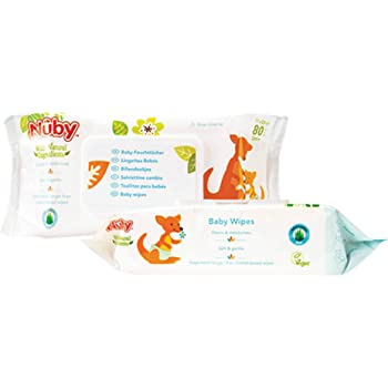 Nuby 2 paquetes de 80 unidades Toallitas h/úmedas para beb/é