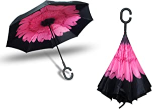 BENSO Reverse Inverted Automated Open Umbrella with Double Layer for UV Protection and Windproof - Perfect for Rainy Season (Pink Marigold)