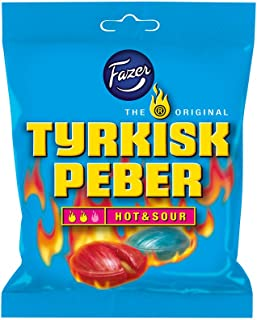 Fazer Tyrkisk Peber Hot & Sour - Original - Finnish - Fruit - Pepper - Salmiak - Salmiac - Salty Licorice - Liquorice - Candies - Sweets - Bag 150g