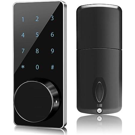 ドアロック 暗証番号式 取り替え錠 電子キー 非常キーとMFカード付き 発光キーパット タッチスクリーン 不正アラム 防犯錠 配線要らない